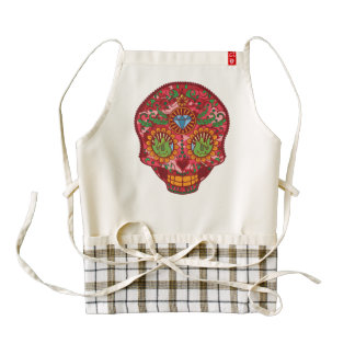 Pink Camo Mexican Day Of The Dead Sugar Skull Zazzle HEART Apron