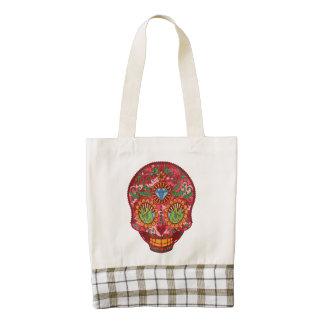 Pink Camo Mexican Day Of The Dead Sugar Skull Zazzle HEART Tote Bag