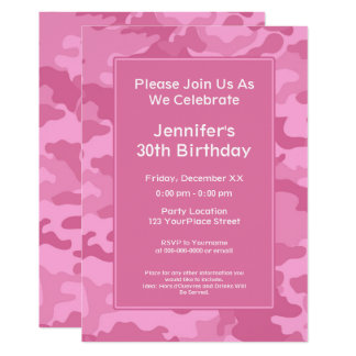 Pink Camo Military Theme Birthday Party Card