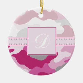 Pink Camo Monogram Christmas Tree Ornament