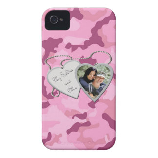 Pink Camo My Soldier & Me Hearts Custom Photo Blac iPhone 4 Case-Mate Case