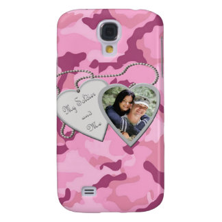 Pink Camo My Soldier & Me Hearts Custom Photo IPho Galaxy S4 Cover