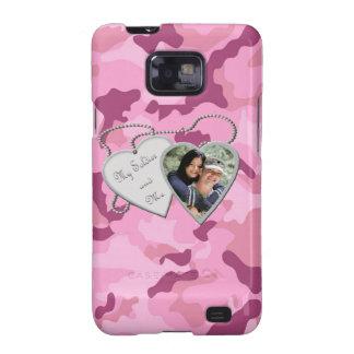 Pink Camo My Soldier & Me Hearts Custom Photo Sams Samsung Galaxy SII Cases