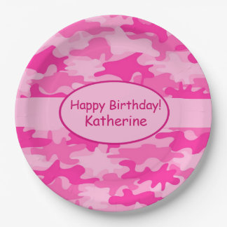 Pink Camo Name Personalized Happy Birthday Party Paper Plate