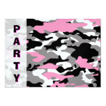 Pink Camo party Invitation template