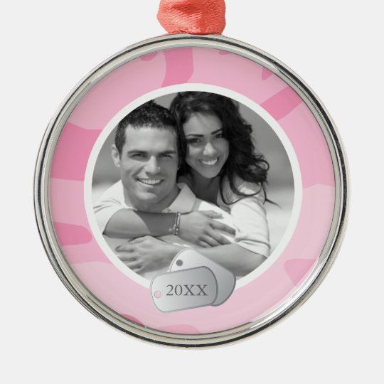 Pink Camo Pattern and Dog Tags Photo Metal Ornament