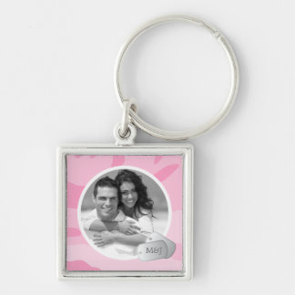 Pink Camo Pattern Customizable Photo & Dog Tags Silver-Colored Square Keychain