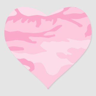 Pink Camo Pattern Heart Sticker