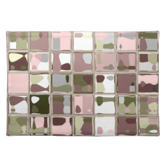 Pink Camo Placemats Woven cotton MADE IN AMERICA