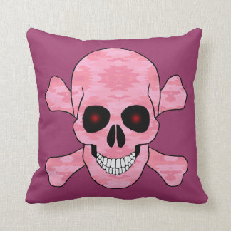 Pink Camo Red Eye Skull And Crossbone Throw Pillow