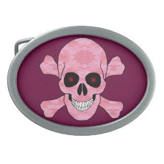 Pink Camo Red Eye Skull And Crossbones Belt Buckle