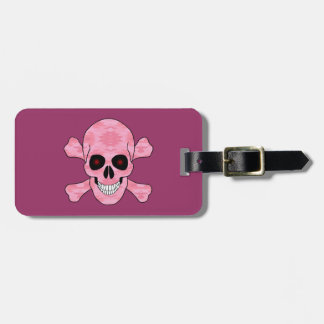 Pink Camo Red Eye Skull And Crossbones Luggage Tag