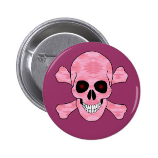 Pink Camo Red Eyes Skull And Crossbones Button