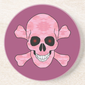 Pink Camo Red Eyes Skull And Crossbones Coaster