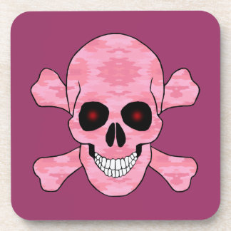 Pink Camo Red Eyes Skull And Crossbones Coasters