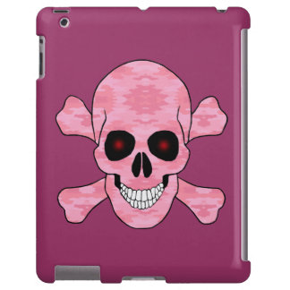 Pink Camo Red Eyes Skull And Crossbones iPad Case
