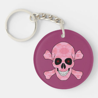 Pink Camo Red Eyes Skull And Crossbones Key Chain