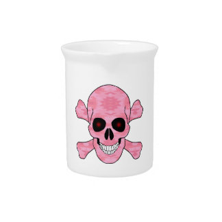 Pink Camo Red Eyes Skull And Crossbones Pitcher