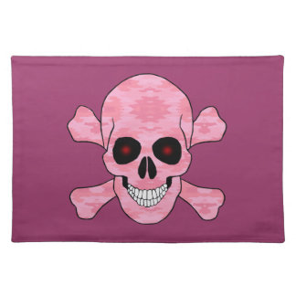 Pink Camo Red Eyes Skull And Crossbones Placemat