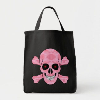 Pink Camo Red Eyes Skull And Crossbones Tote Bag