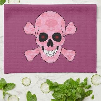 Pink Camo Red Eyes Skull Crossbones Kitchen Towel