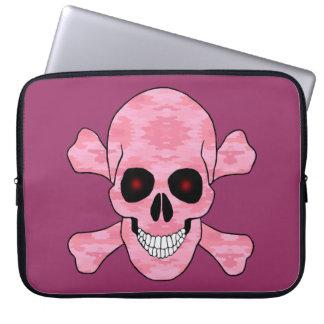 Pink Camo Red Eyes Skull Crossbones Laptop Sleeve