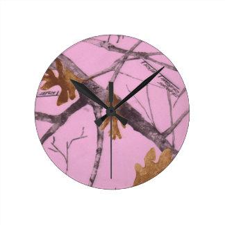 Pink Camo Round Clock