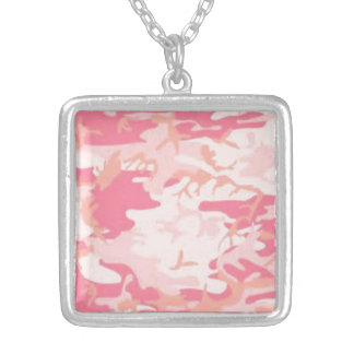 Pink Camo Silver Plated Necklace