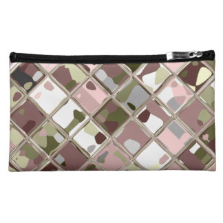 Pink Camo Sueded Customizable Cosmetic Bag