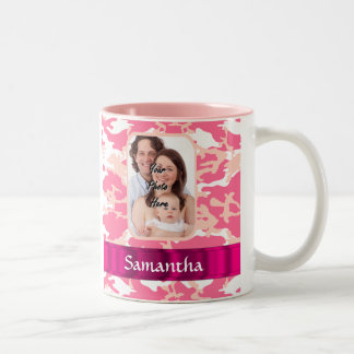 Pink camo Two-Tone coffee mug