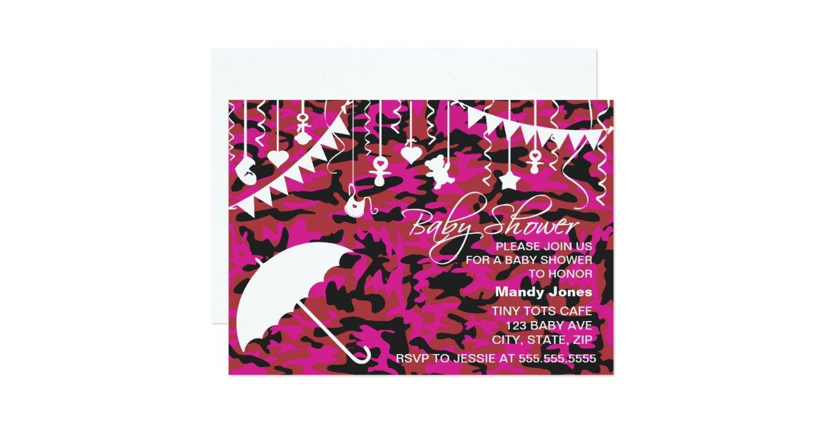 pink camo umbrella modern baby shower invitations zazzle