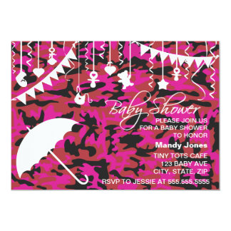 Pink Camo umbrella modern baby shower invitations