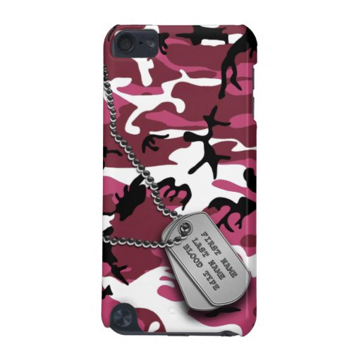 Pink Camo w/ Dog Tags iPod Touch 5G Case