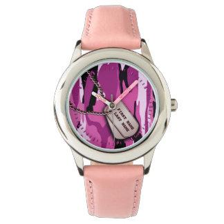 Pink Camo w/ Dog tags Wristwatches