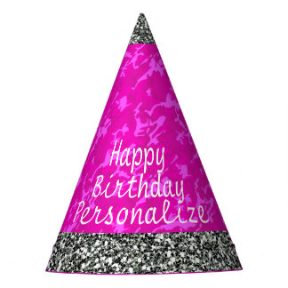 Pink Camo with Faux Silver Glitter Party Hat