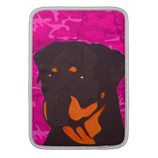 Pink Camo with Rottweiler MacBook Sleeve