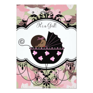 Pink Camouflage African American Baby Girl Shower Card