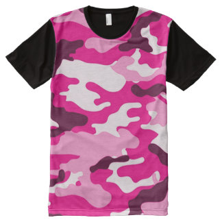 Pink Camouflage All Over Print T-Shirt