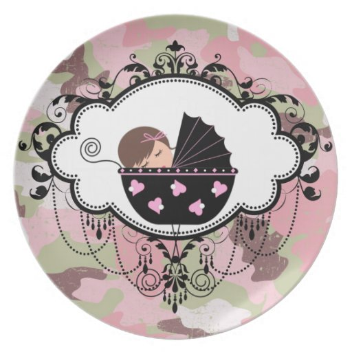 Pink Camouflage Baby Girl Plate