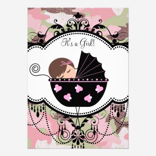 Custom camo invites templates babyfavors4u pink camouflage baby girl shower invitations filmwisefo Gallery