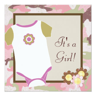 Pink Camouflage Baby Girl Shower Invitations