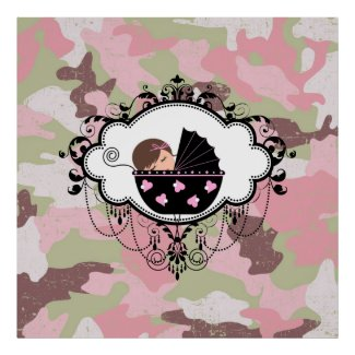 Pink Camouflage Baby Girl Wall Art Poster