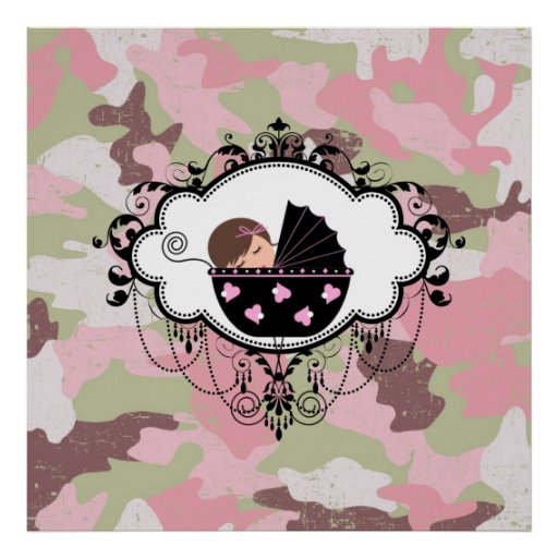 Pink Camouflage Baby Girl Wall Art Poster Zazzle