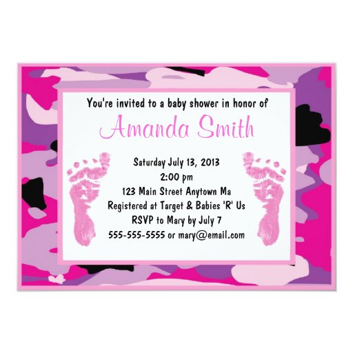 pink camouflage baby shower invitations zazzle