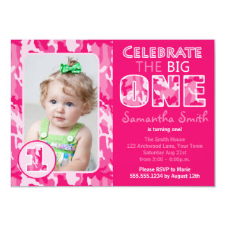 Pink Camouflage / Camo Theme First Birthday 4.5x6.25 Paper Invitation Card