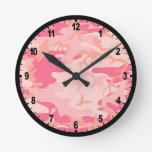 Pink Camouflage Camo Wall Clock