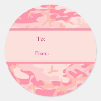 Pink Camouflage  Cusom Monogram Classic Round Sticker