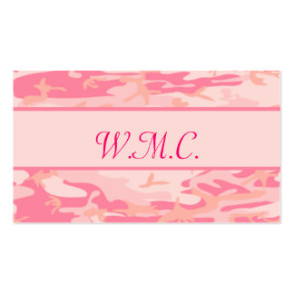 Pink Camouflage  Cusom Monogram or Name Business Card