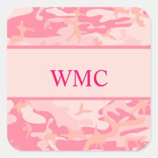 Pink Camouflage  Cusom Monogram Square Sticker