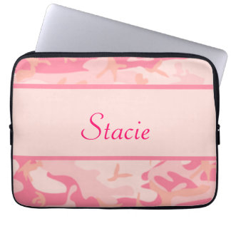 Pink Camouflage  Cusom Name Computer Sleeve